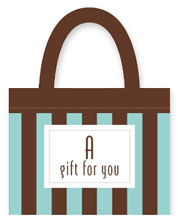 gift card holder chocolate aqua stripe