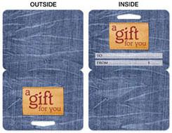 gift card holder blue denim